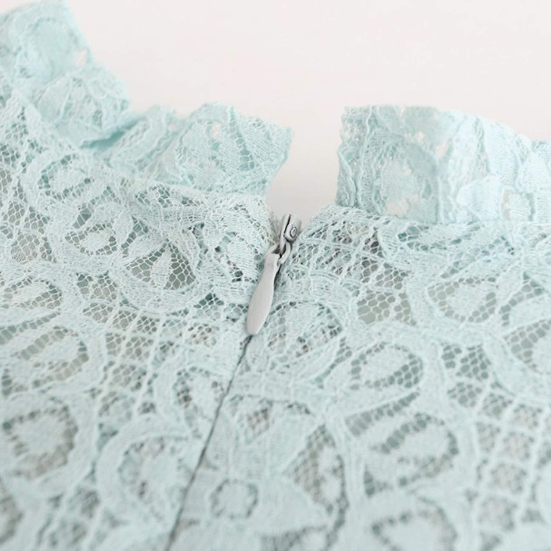 De feuilles Kids Baby Girls Ruffled Sleeve Pom Pom Trim A-line Lace Dress Summer Party Dress