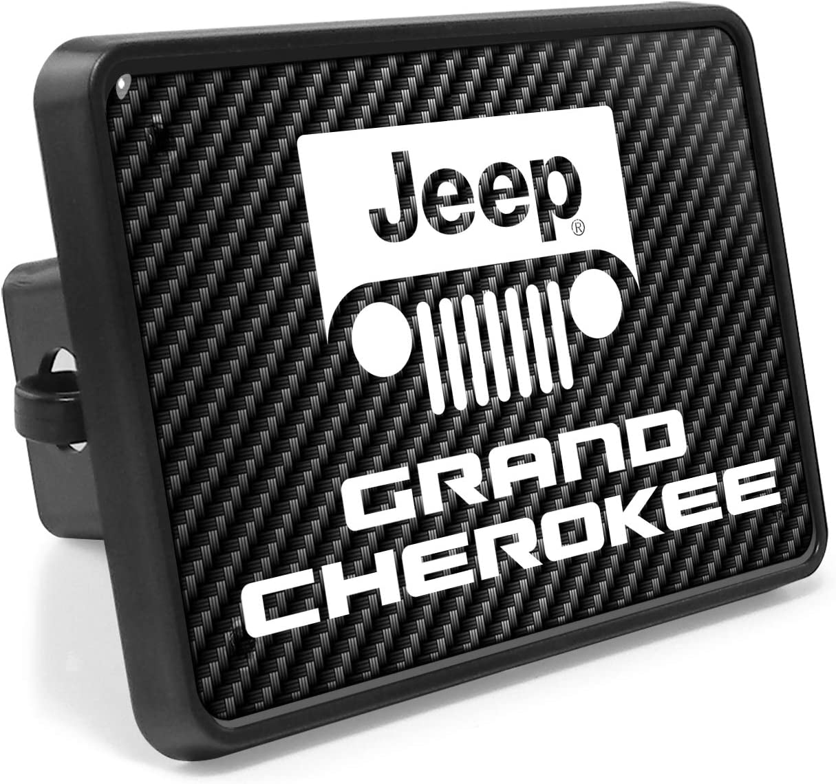 iPick Image for Jeep Grand Cherokee UV Carbon Fiber Look Plastic Tow Hitch Cover