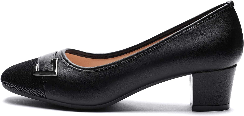 CINAK Womens Low Block Heels Dress