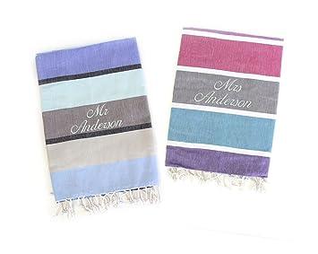 Señor & Mrs toallas de playa de Luna de Miel, personalizable, regalo de bodas