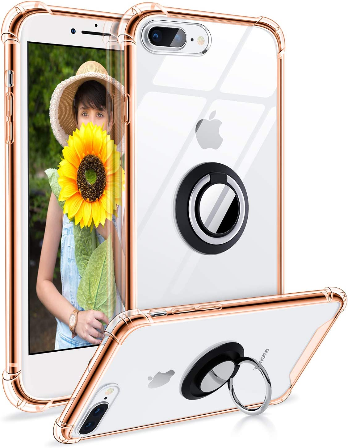 DAUPIN iPhone 8 Plus Case, Clear iPhone 7 Plus Case with 360 Rotatable Ring Kickstand Magnetic Metal Car Mount Soft TPU Bumper PC Back Shochproof Protective Case for iPhone 7/8 Plus (Rose Gold)