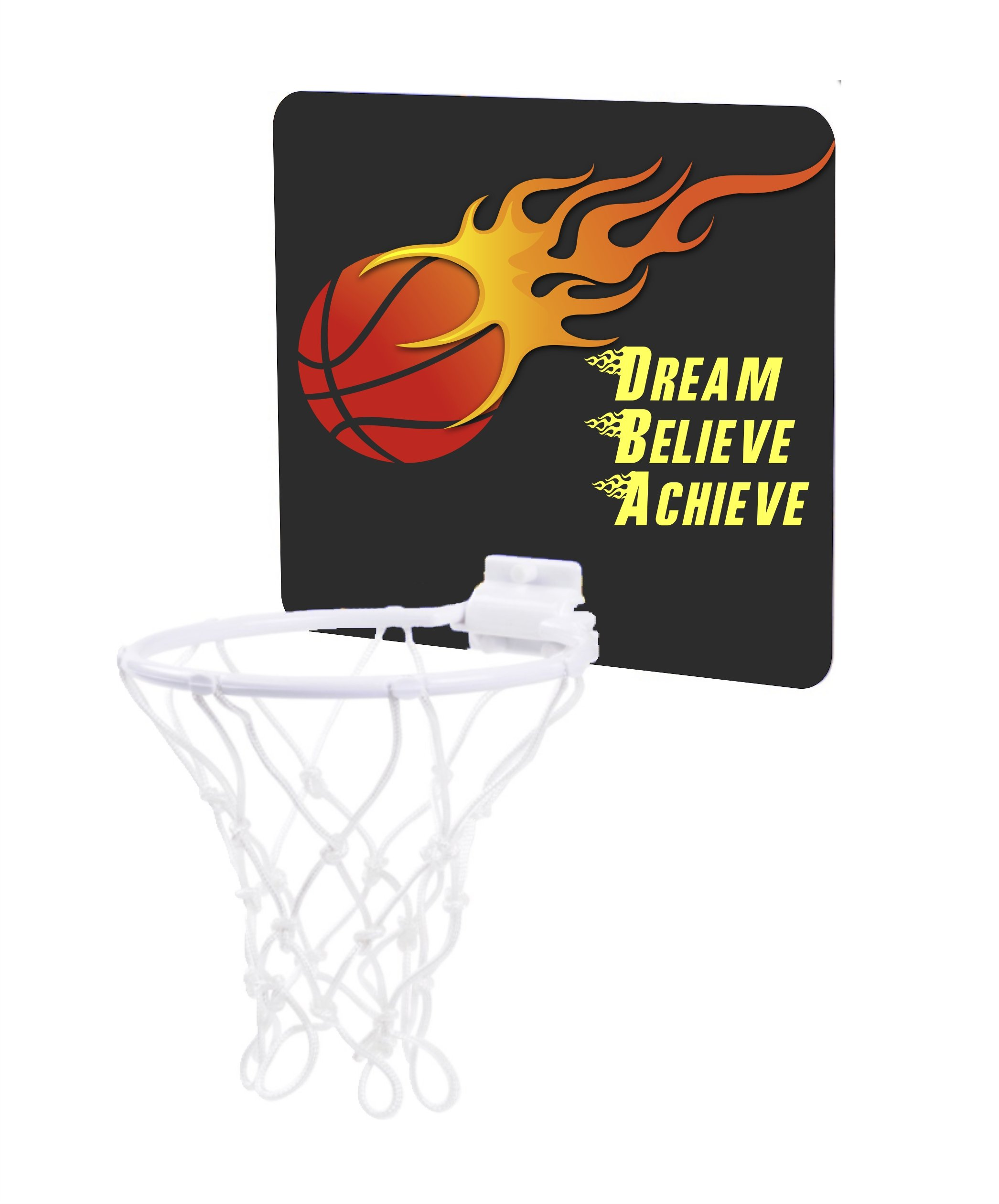 Jacks Outlet Flaming Basketball Design - Dream Believe Achieve - Childrens 7.5'' x 9'' Mini Basketball Backboard - Goal with 6'' Hoop