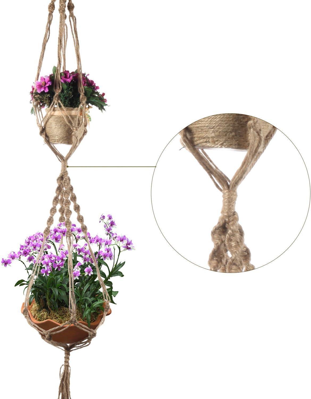 maceta cesta hechas a mano 4/patas 120/cm hacoly macetones colgante 2/capas macram/é Planta perchas Soporte de arrugas de maceta Interior o exterior buamwoll cuerda