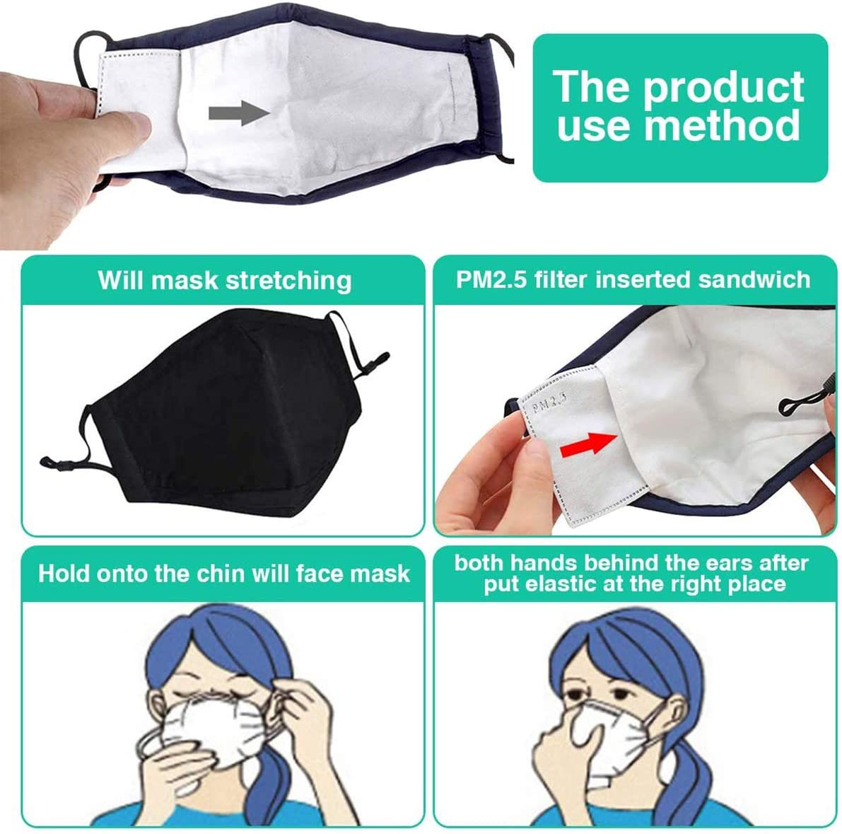 5 Layers Replaceable Anti Haze Mask Filters 10 PCS PM2.5 Filter Activated Carbon Filter Insert Ready Stock Protective Mouth Filter for Outdoor