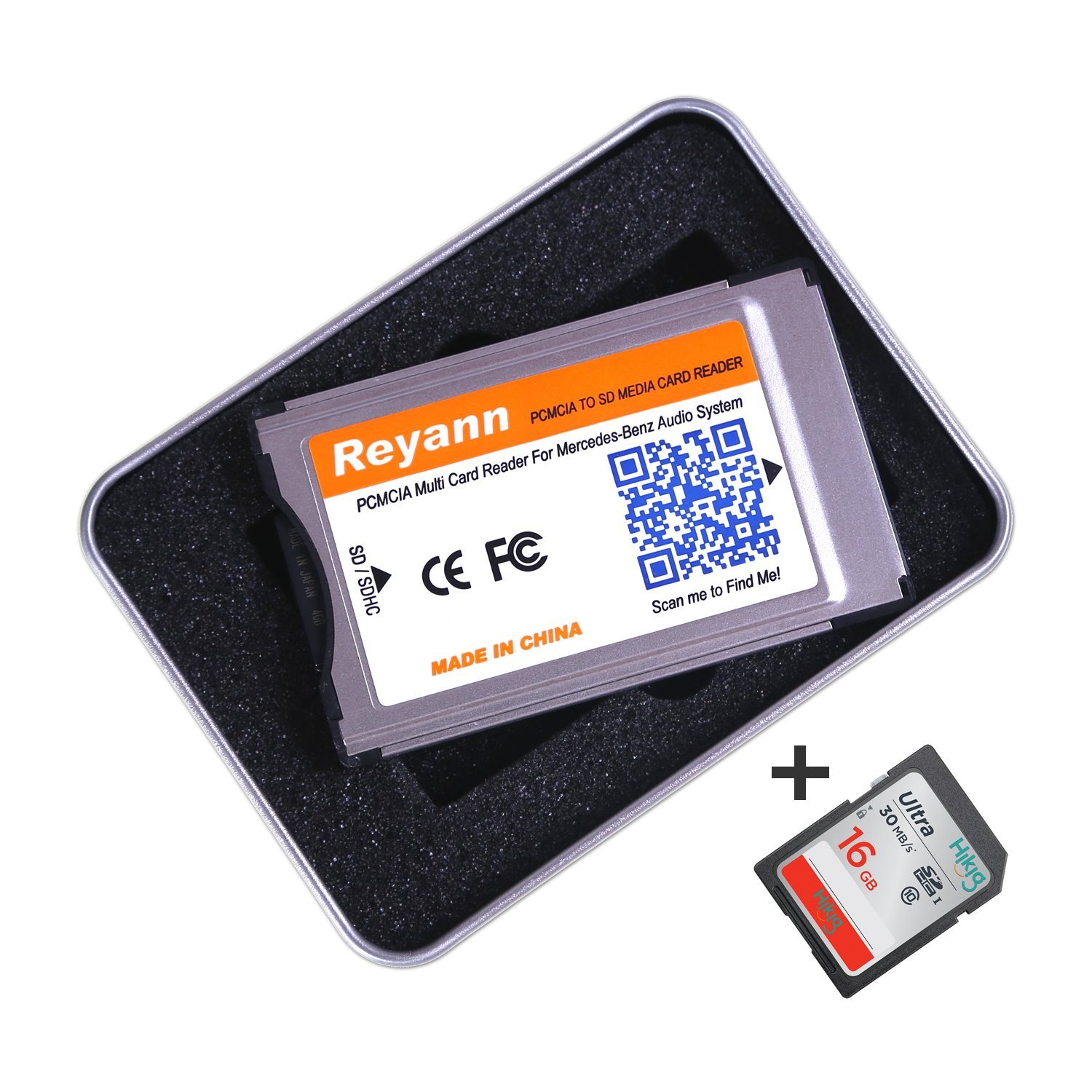 Hikig PCMCIA Convert to SD/SDHC Card Adaptor For Mercedes Benz C, E, S, GLK, CLS Class COMAND APS System with PCMCIA Slot support 32GB SDHC (PCMCIA + 16G)
