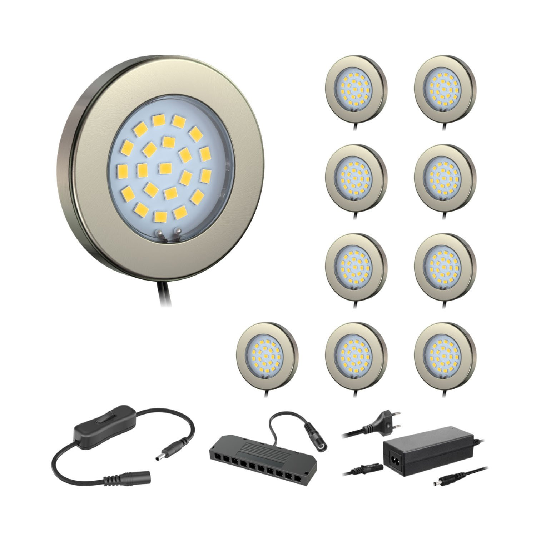 Ledscom  10er-Set LED Unterbau-Leuchte Maja, Chrom matt, mit Trafo, rund, flach, 6cm Ø, 290lm, weiß