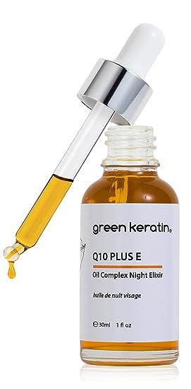 Green Keratin CoQ10 y Vitamina E Aceite Facial de Noche || Rosa Mosqueta, Argan, Kukui, Squalane de Oliva, Neroli Aceite Facial de Noche || 30 ml: ...
