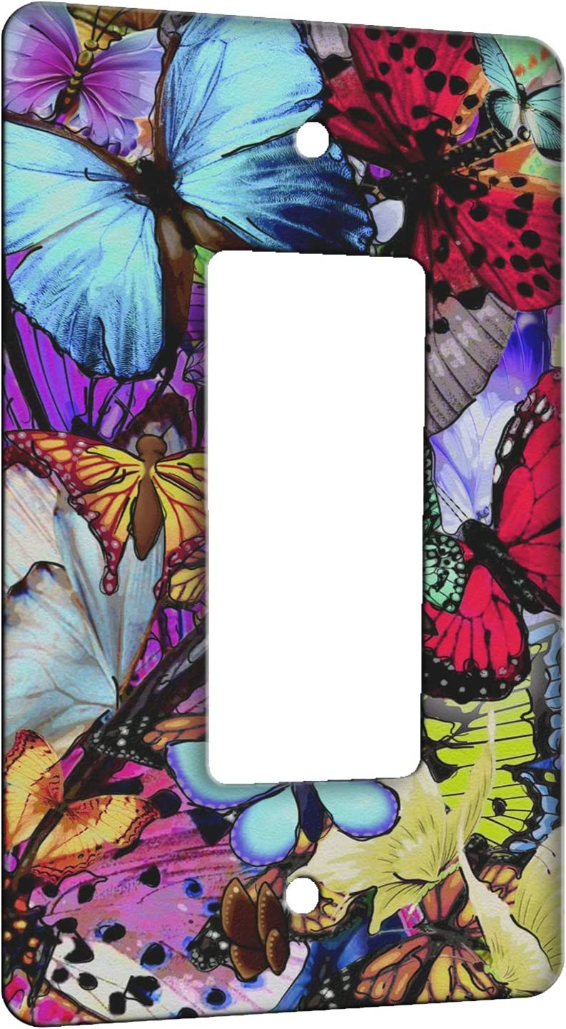 Elements of Space Butterfly Collage Metal Wall Plate - 1 Gang Decora/GFCI