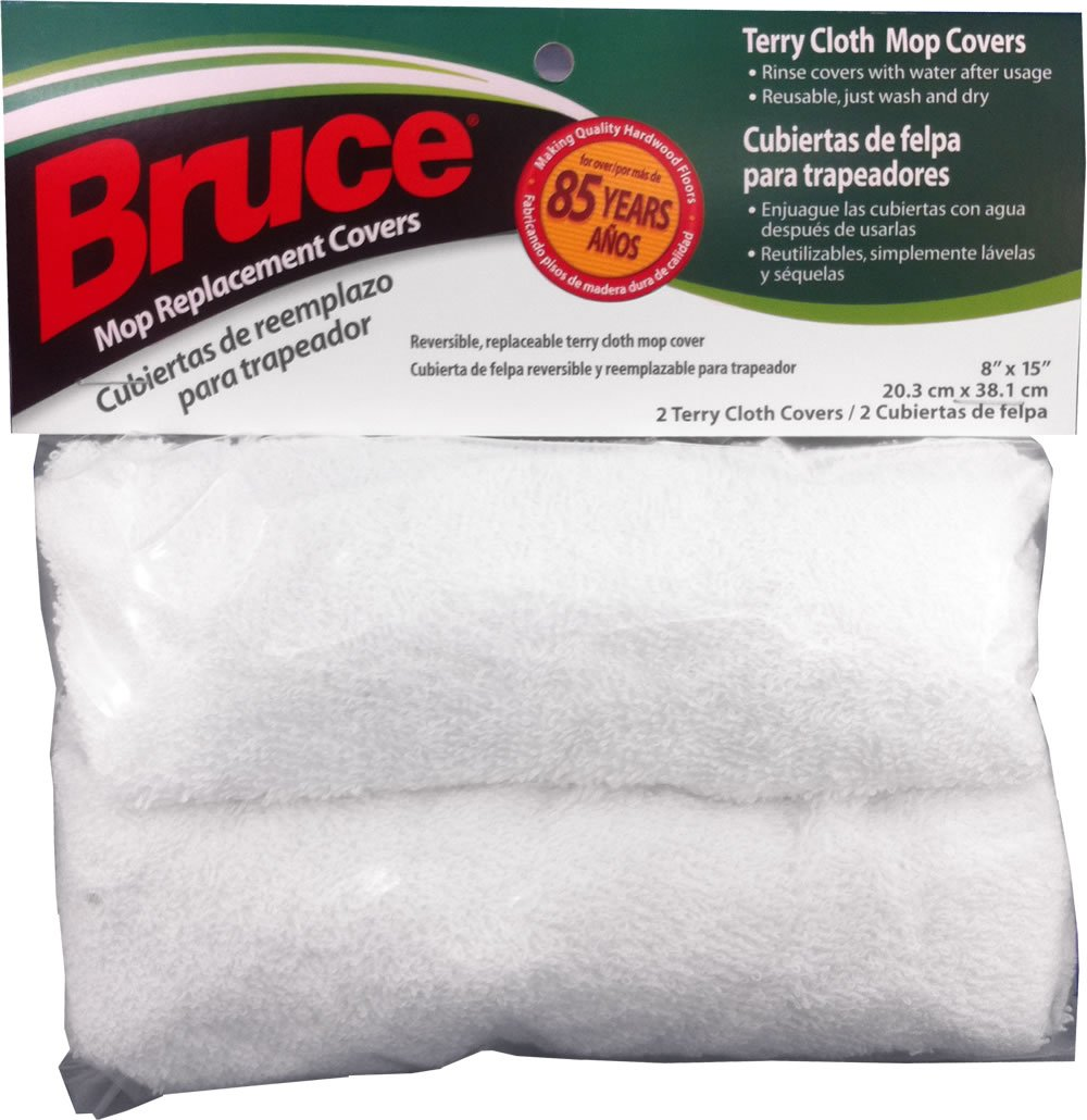 Bruce 2 Reusable Replacement Terry Cloth Mop Covers for Mop Head Size 8'' x 15''