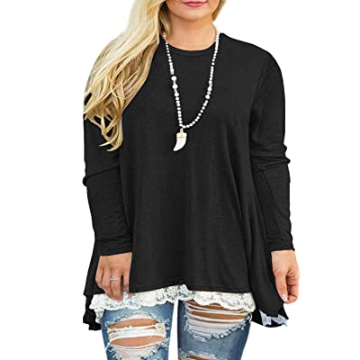 VISLILY Womens Plus Size Tunic Tops Casual Lace Long Sleeve A-Line Blouse Shirt at Women's Clothing store