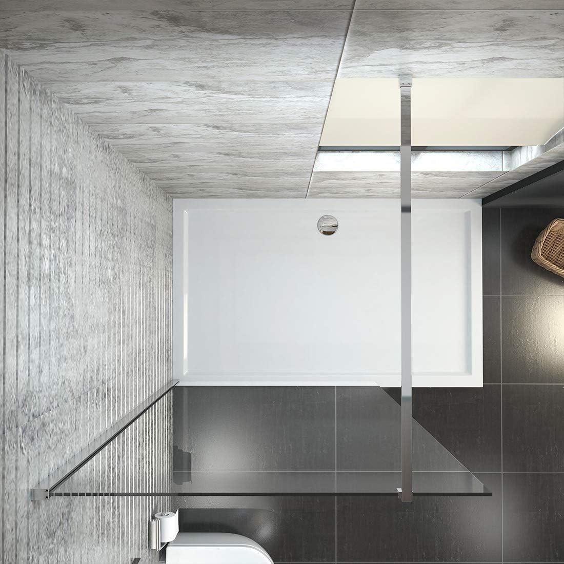 düravak ducha Walk In Mampara de ducha (Cristal de 6 mm Nano Leche Frosted separador de cristal ahumado con barra de estabilización: Amazon.es: Bricolaje y herramientas