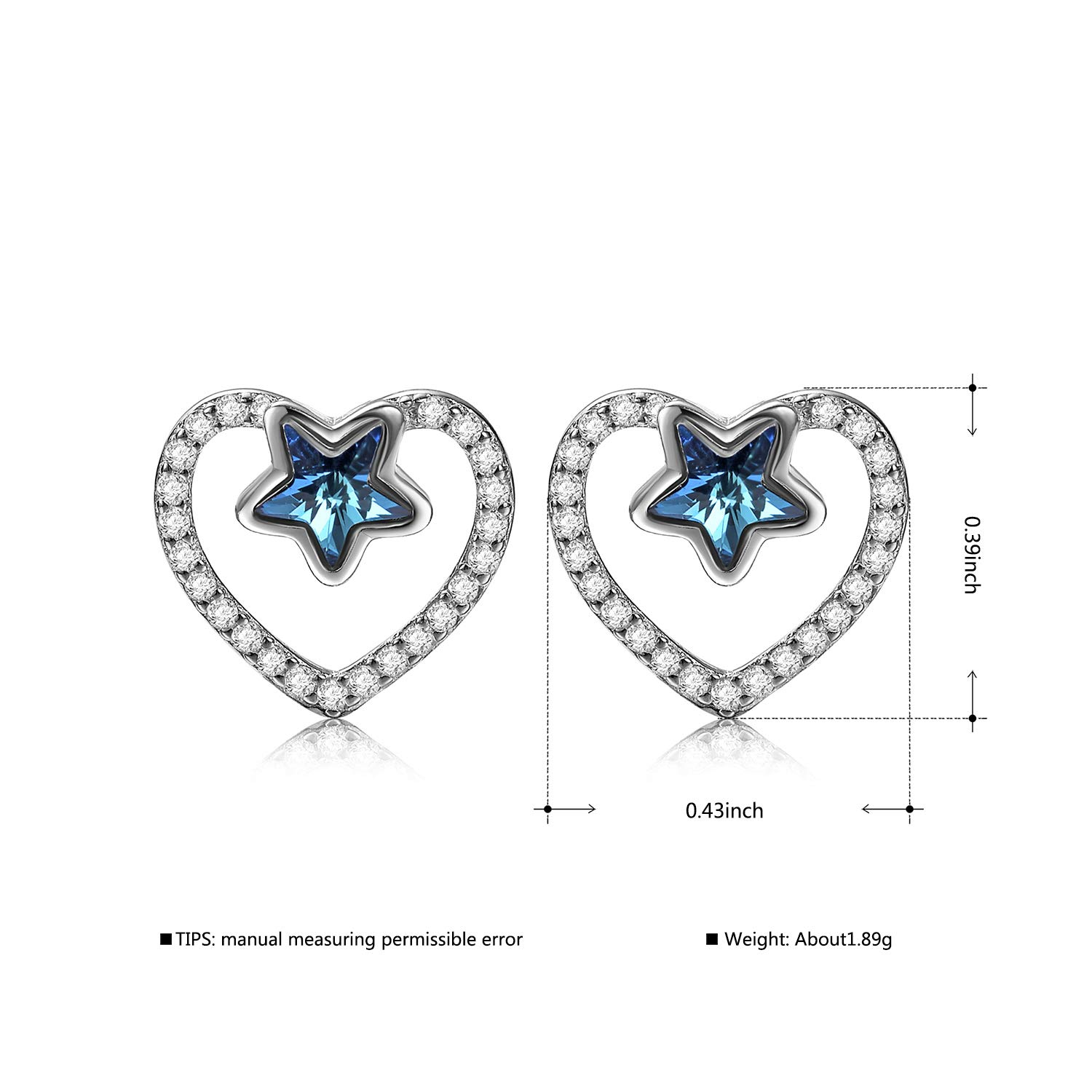 0ecfe38f5286a Amazon.com: Augem Fashion Jewelry for Women Love Heart Star Stud ...