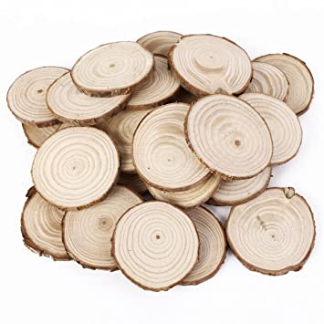 25pcs 5cm wooden wood log slices discs natural tree bark table 25pcs 5cm wooden wood log slices discs natural tree bark table decorative wedding centerpieces round junglespirit Choice Image