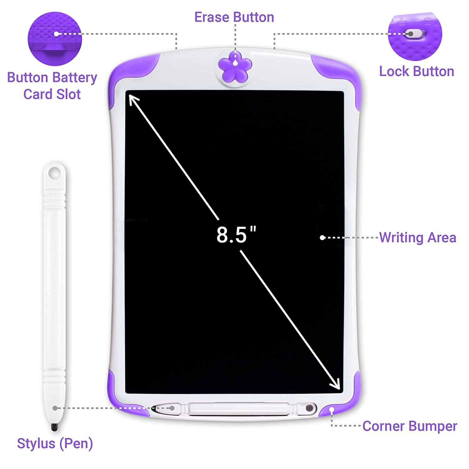 Pink Gift for Kids Writing Tablet Doodle Drawing Board with Erase Button and Screen Lock Simicore 8.5 inch Smart LCD Writing Tablet