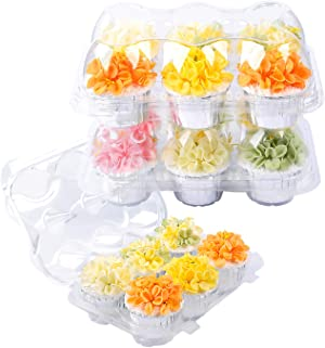 LOKQING Plastic Cupcake Containers 6ct Cupcake Boxes Cupcake Carrier with Connected Airtight Dome Lid(30 PACK)