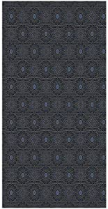Decorative Privacy Window Film/Geometric Design with Old Rich Royal Elements and Moroccan Star Dark Ancient/No-Glue Self Static Cling for Home Bedroom Bathroom Kitchen Office Decor Black Cream Blue