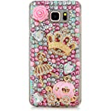 Note 5 Case,Galaxy Note 5 Case - Mavis's Diary 3D Handmade Bling Crystal Luxury Cute Pumpkin Car Golden Crown Dancing Girl Shiny Sparkling Pink Diamonds Gems Clear Hard Cover for Samsung Galaxy Note 5