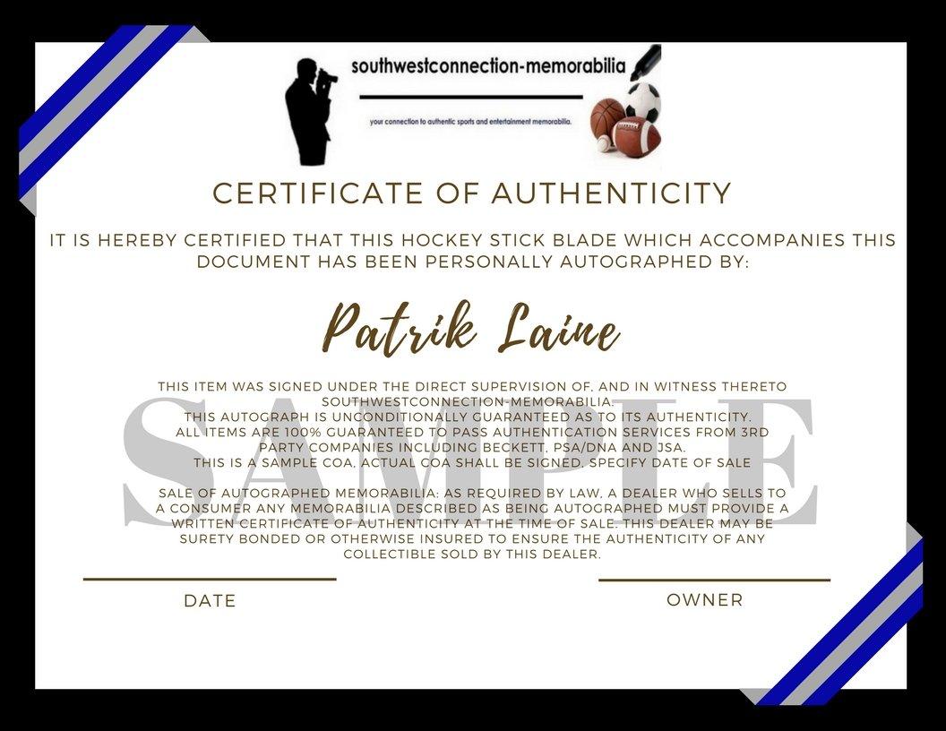Winnipeg Jets Patrik Laine Autographed Hand Signed Jets Logo Ice Hockey Stick Blade with Proof Photo of Patrick Signing and COA