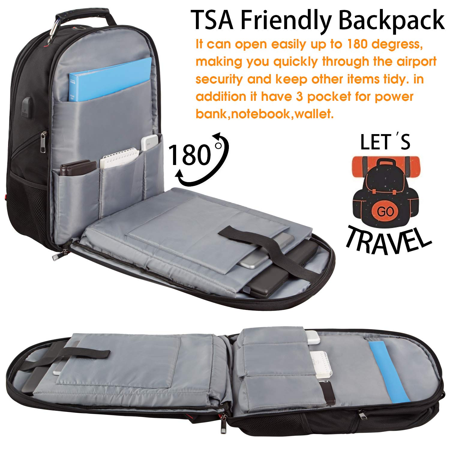 Extra Large Backpack,Travel Laptop Backpack TSA Friendly Durable Computer Backpack with USB Charging Port for Men&Women,Water-Resistant Big Business College School Bookbag Fits 17 Inch Laptop&Notebook by Tinvic (Image #2)