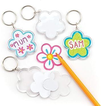 Baker Ross Kits de llaveros de flores que los niños pueden colorear, decorar y personalizar - Juego de manualidades para primavera (pack de 6): Amazon.es: Juguetes y juegos