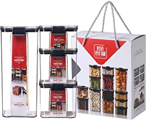 Airtight Food Storage Container Set of 4, Stackable Kitchen & Pantry Organization ontainers - BPA-Free - Clear Plastic Canisters for Flour, Cereal with Improved Lids Cereal with Improved Lids (Large)