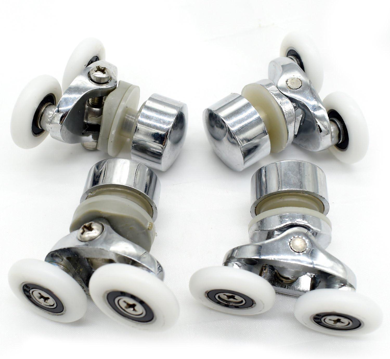 Juego de poleas y ruedas superiores e inferiores para mampara corredera de ducha individual, 4 unidades, rueda de 25 mm de diámetro, piezas de repuesto de baño: Amazon.es: Bricolaje y herramientas