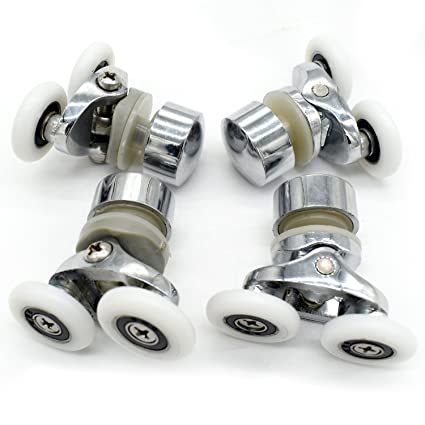 Juego de poleas y ruedas superiores e inferiores para mampara corredera de ducha individual, 4