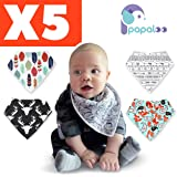 Papaloo 5 Bandana Drool Bibs kit For Boys And Girls - Keep Babies Clean And Warm - Reusable Resource For Your Daily Baby Care Needs - 100% Cotton - Machine Washable -for your 3 To 24 month old infant