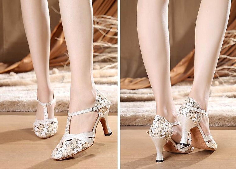 JSHOE Frauen T-strap Glitter Tango Schuhe Salsa Hochzeit Latin Dance Schuhe Tango Geschlossen-Zehe Mid Heel Pump,Beigeheeled6CM-UK3/EU33/Our34 Beigeheeled6cm f7c19f