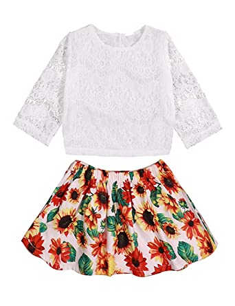 186b5a6e0eef Baby Girls Skirt Sets Summer Clothes Outfits Long Sleeve Lace Top +  Sunflower Tutu Skirts Spring