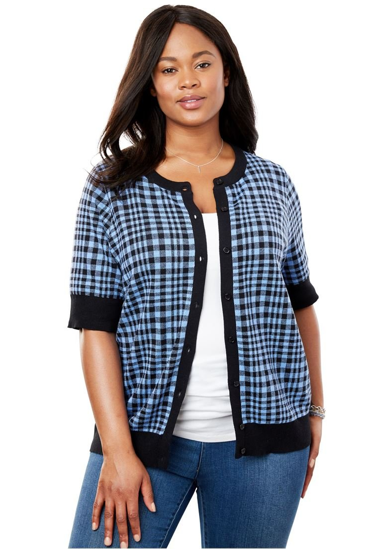 Women's Plus Size Perfect Short Sleeve Cardigan French Blue Gingham Plaid,1X