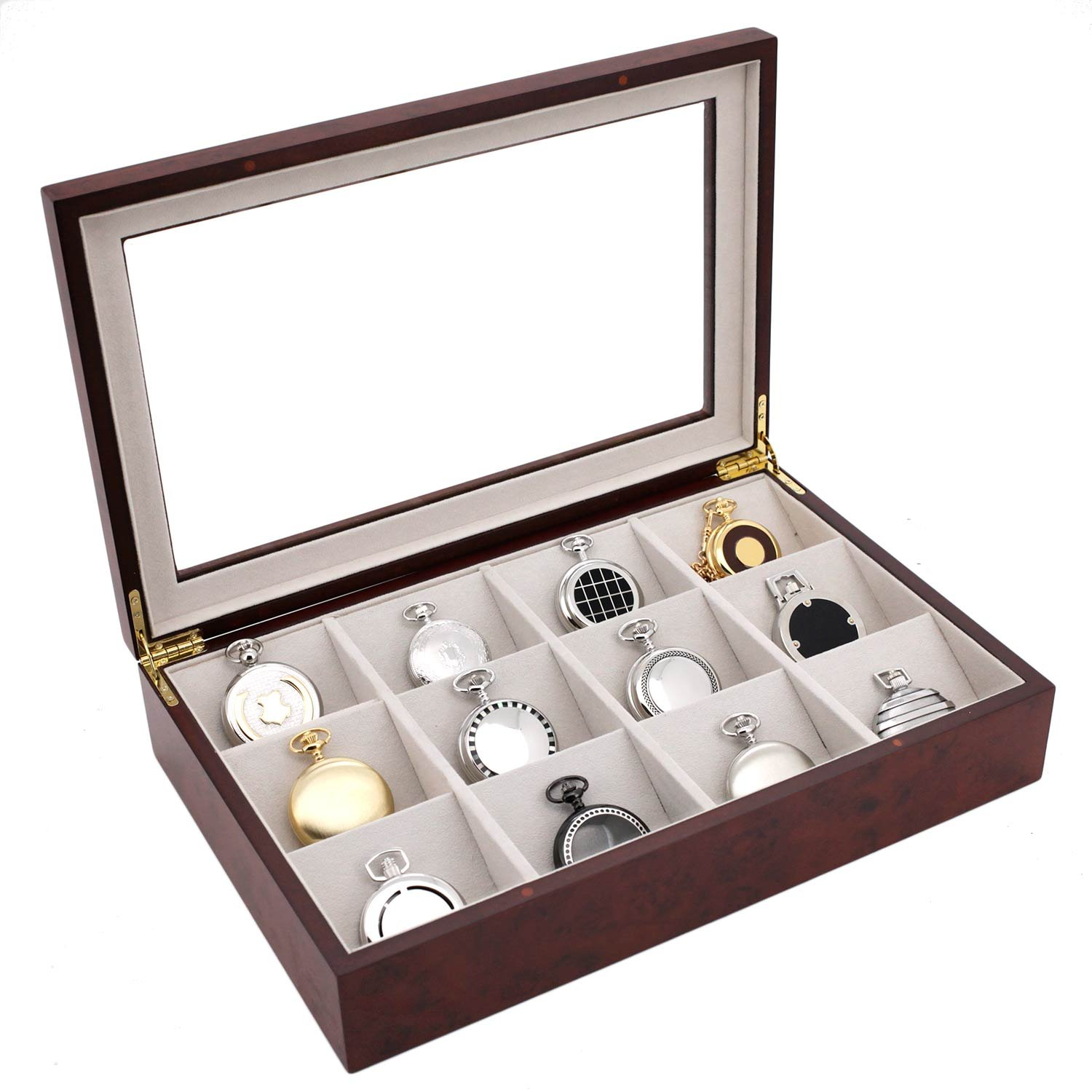 Pocket Watch Box Display Case Wood Large Compartments Glass Window (Burlwood)