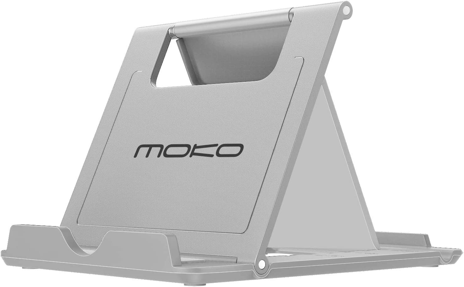 """MoKo Phone/Tablet Stand, Foldable Desktop Holder for Devices(6-11"""") Fit iPhone 11 Pro Max/11 Pro/11, iPad 10.2"""" 2019, iPhone Xs/Xs Max/Xr/X, iPad Air 3, Mini 5, Galaxy Note 10 Plus, Gray(Small Size)"""