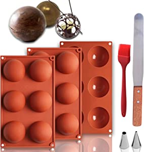 6 Holes Hot Chocolate Bomb Mold Kit, Silicone Molds for Chocolate, Cake, Dome Mousse, Food-Grade Silicone, Best Mold for making Hot Cocoa Bombs, with 1 Spatula,2 Decorating Tips,1 Brushes(3 pack)