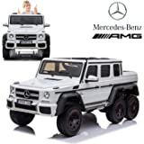 Dorsa Licensed Mercedes Benz AMG G63 6x6 Kids Ride On Car with 2.4G Remote Control, 12V 4 Motors, Stroller Function, Openable Doors, Spring Suspension, USB MP3 Player & Bluetooth Function -White