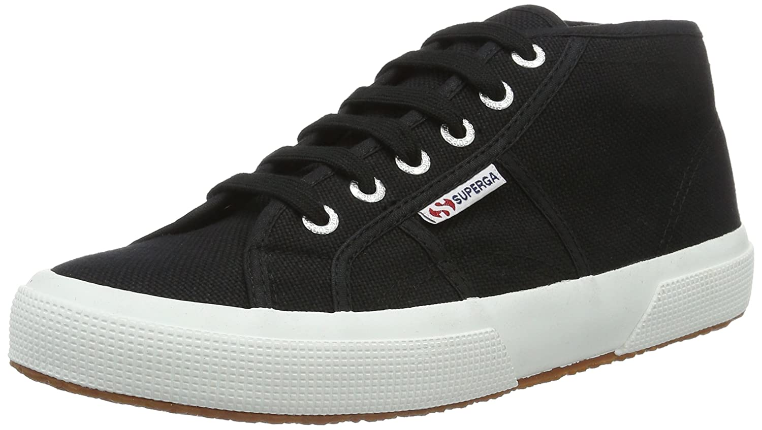 Superga 2754 COTU, Zapatillas Altas Unisex Adulto 35.5 EU|Schwarz (Black-white)