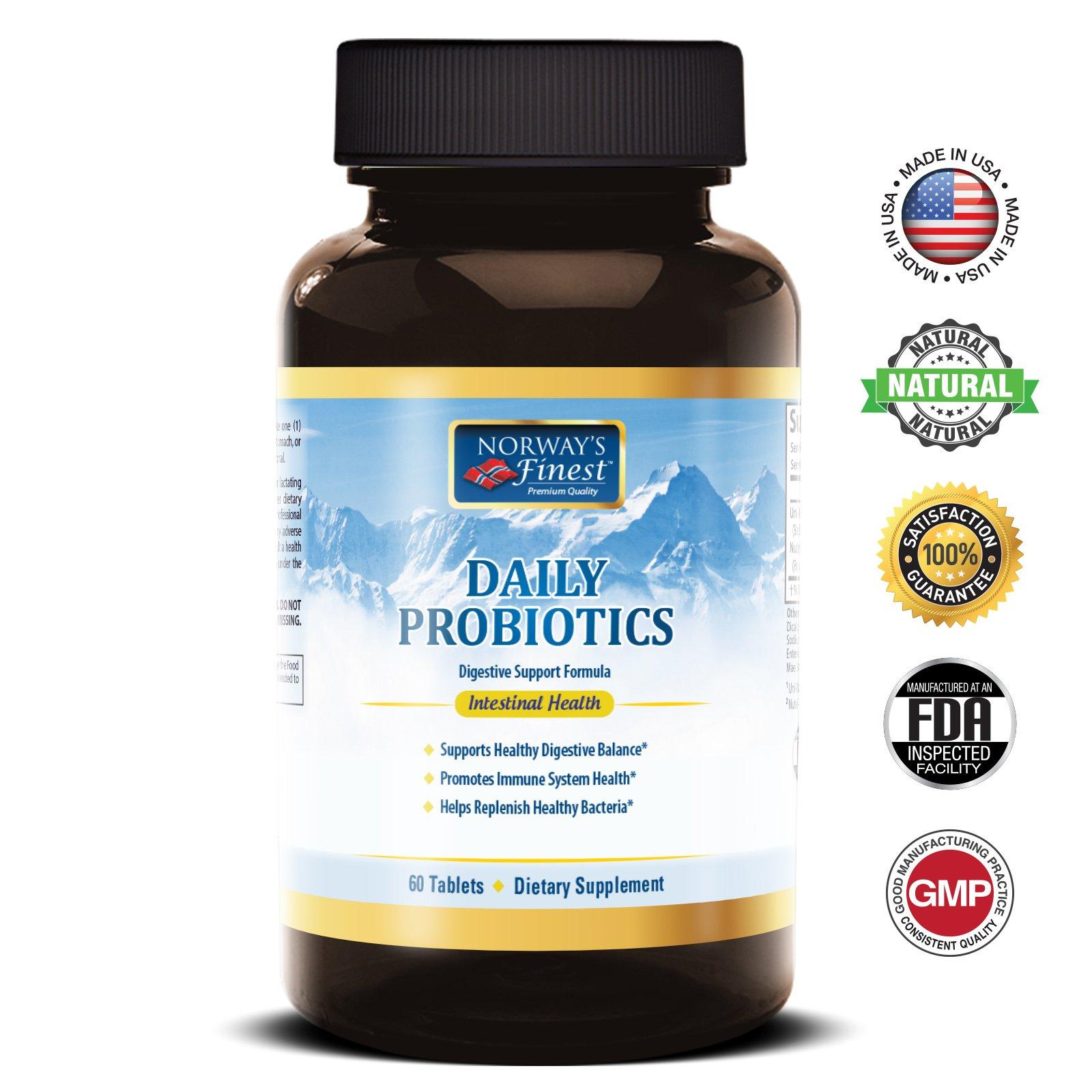 Norway's Finest Daily Probiotics - Digestive Support Formula - Multi-Probiotic 15 Billion - Multi-Strain Probiotic with Prebiotic Fos - 60 Tablets