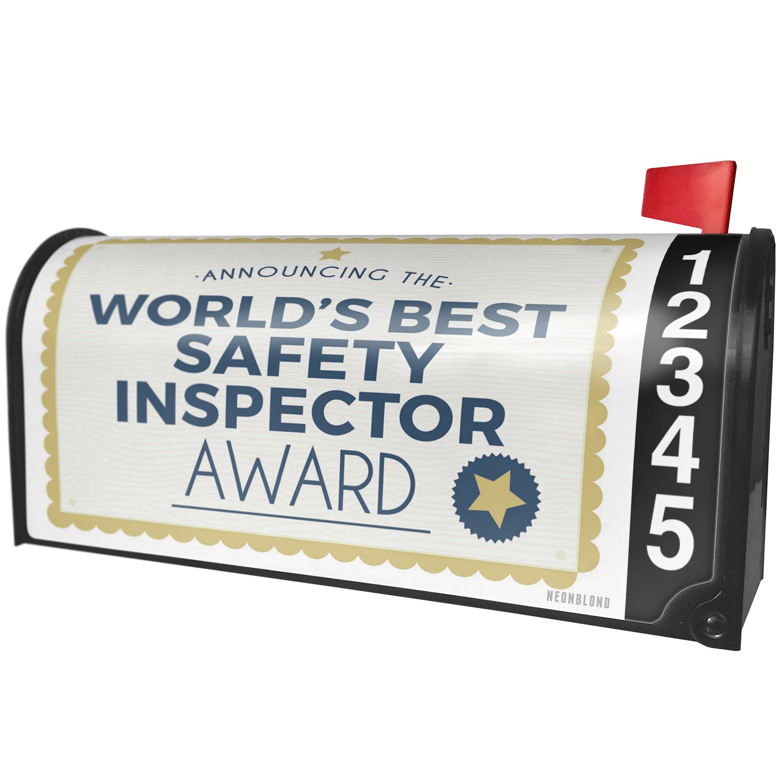 NEONBLOND Worlds Best Safety Inspector Certificate Award Magnetic Mailbox Cover Custom Numbers