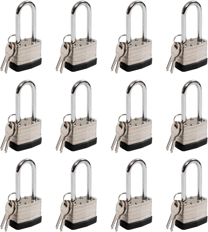 1-9//16 Wide Body 2-inch Long Shackle Padlocks with Keys Pack of 12 40mm Keyed Alike Nickel Plated Laminated Steel Padlock