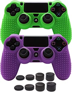 PS4 Controller Grips,Pandaren Studded Anti-Slip Silicone Cover Skin Set Compatible for PS4 /Slim/PRO Controller(Skin x 2 + FPS PRO Thumb Grips x 8)(Green, Purple)