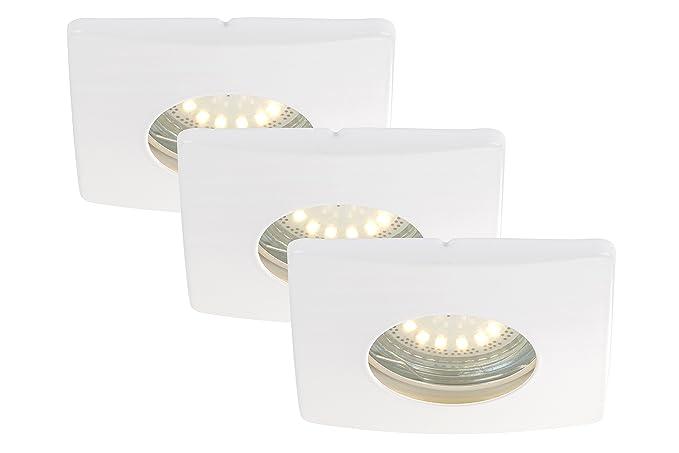 LED Einbauleuchten, Einbaustrahler, Einbauspots, 3-er Set, LED GU10, 4  Watt, 330 Lumen, schwenkbar, IP44, Badezimmer/Bad geeignet, weiß