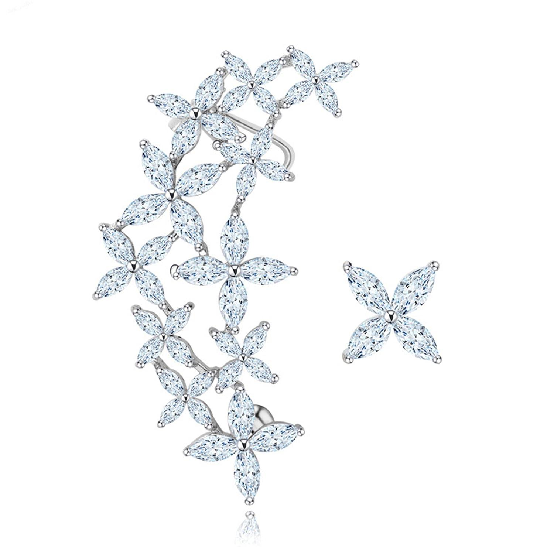 Beydodo Crystal Earring Studs Women Earrings Gold Plated Asymmetry Marquise Cut Cubic Zirconia