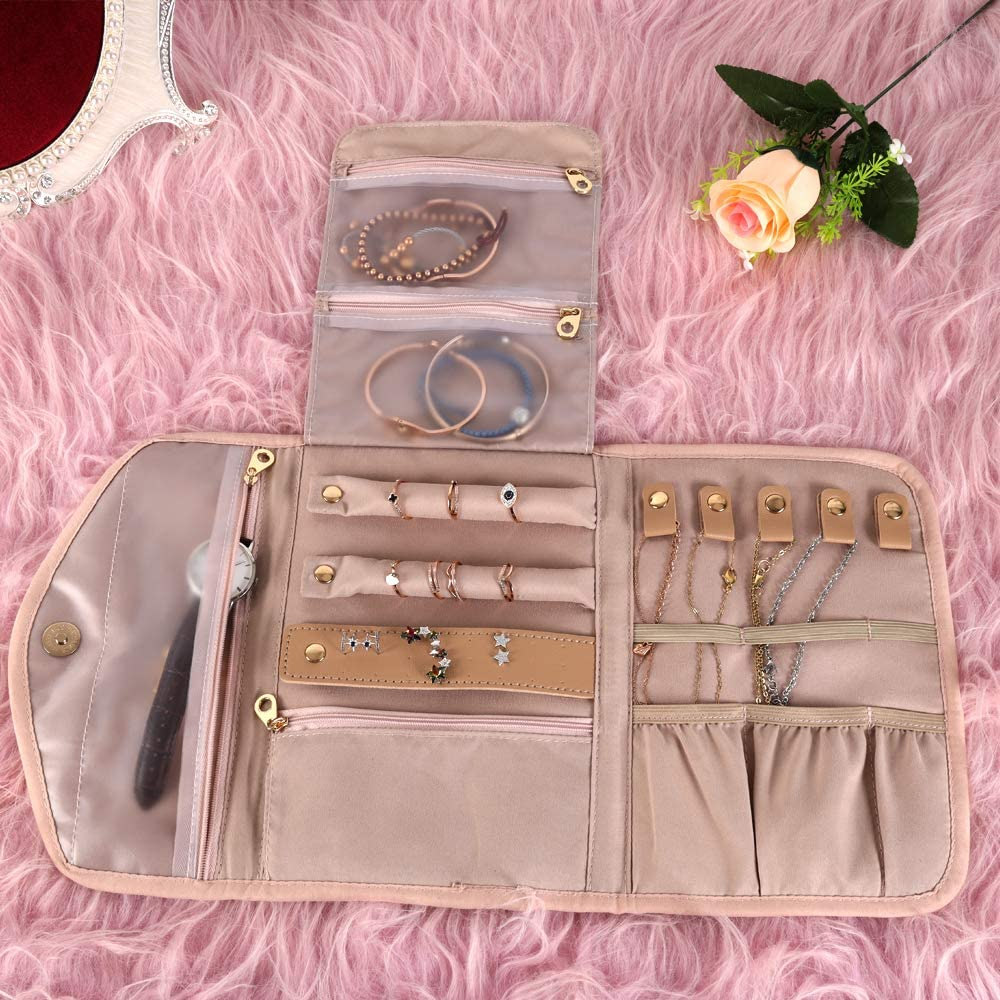 Foldable Jewelry Case Portable Jewellery Bag for Journey-Rings Necklaces Earrings Bracelets KUAK Travel Jewelry Organizer Roll