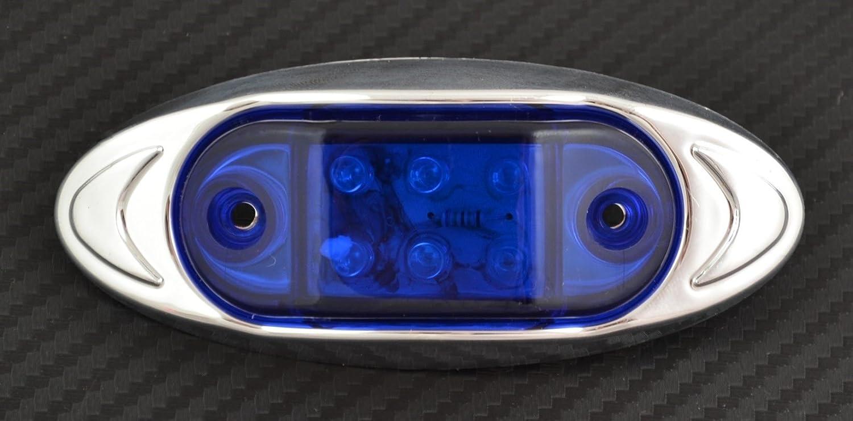 10/x 24/V 6/LED Side Outline Azul marcador luces con pl/ástico cromado bisel cami/ón volquete cami/ón remolque caravana bus van exterior o interior Uso