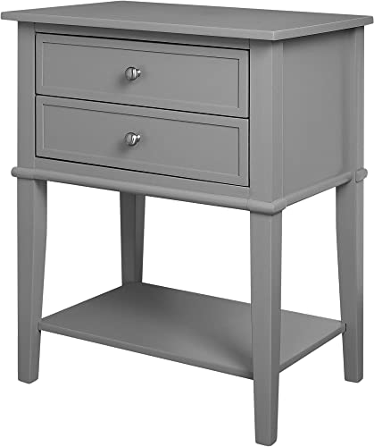 Ameriwood Home Franklin Accent Table with 2 Drawers, Gray –