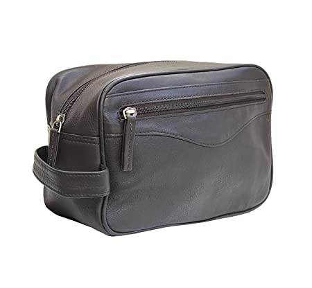 Prime Hide Men s Dark Brown Leather Wash Bag Toiletry Bag  Amazon.co.uk   Luggage 2ea48ce8daa29