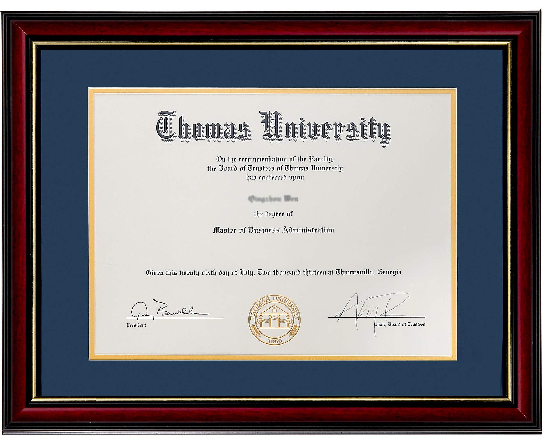 Flagship Diploma Frame Real Wood & Glass Golden Rim Sized 8.5x11 Inch with Mat and 11x14 Inch Without Mat for Documents Certificates (Double Mat, Navy Blue Mat with Golden Rim) by Flagship Frames