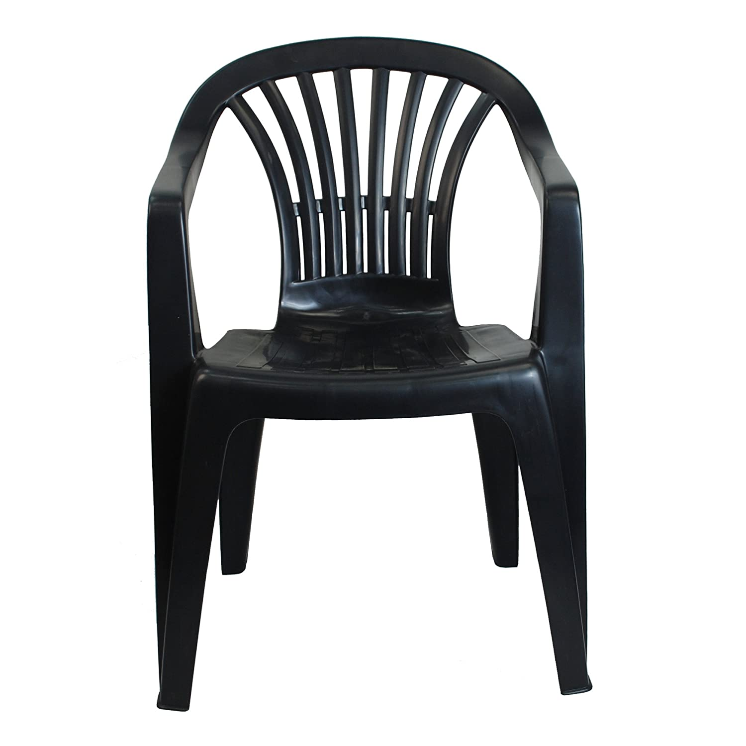 6x Indoor Outdoor Black Plastic Chairs Garden Patio