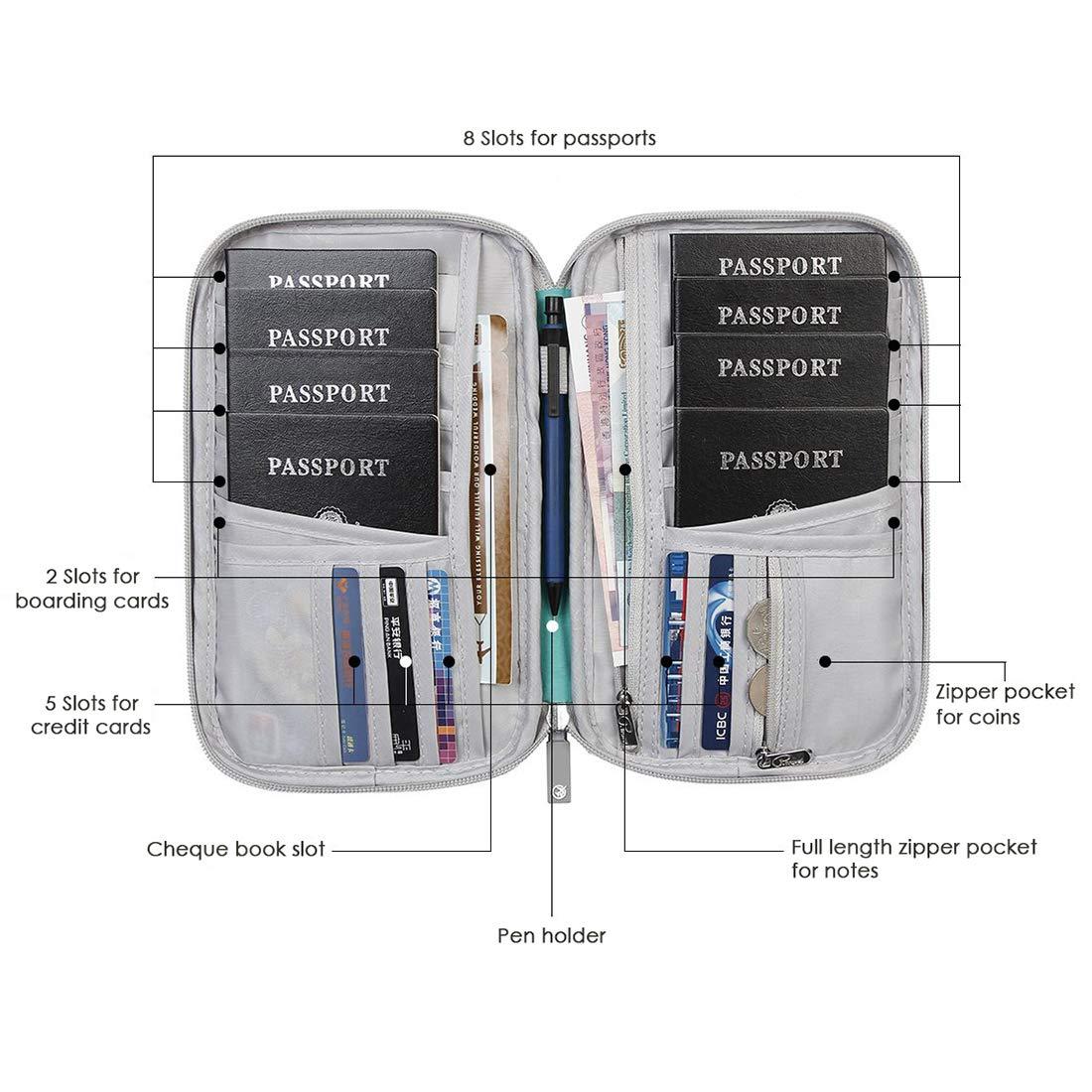 Travel Accessories Storage Organizer for Man and Woman. Passport Holder Family Travel Wallet Document Organizer Bag Grey