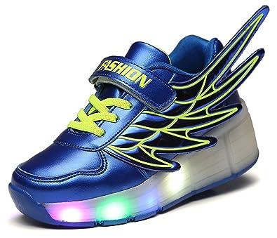 eb357b9cb67c pit4tk LED Light Up Roller Wheel Shoes Athletic Sneaker Sport Shoe Dance  Boot Kid Wing Christmas